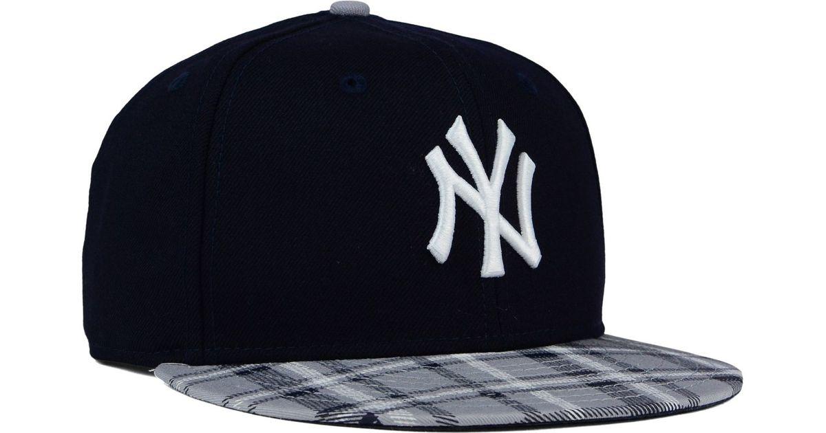 ... closeout lyst ktz new york yankees plaid 9fifty snapback cap in blue  for men 2a8e4 c0b35 b7654a144b91