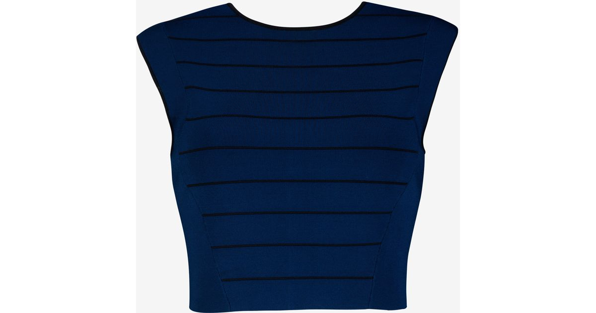 df4dc8435 Lyst - Ted Baker Ottoman Knit Cropped Top in Blue
