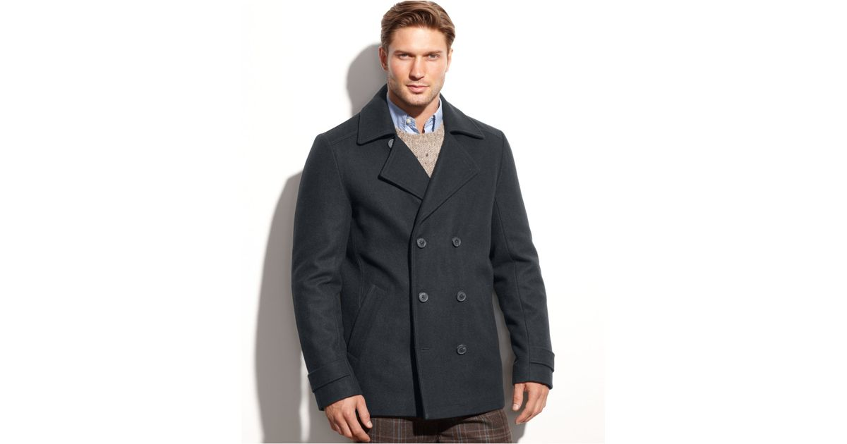 Calvin klein Wool-blend Double-breasted Pea Coat in Gray for Men ...