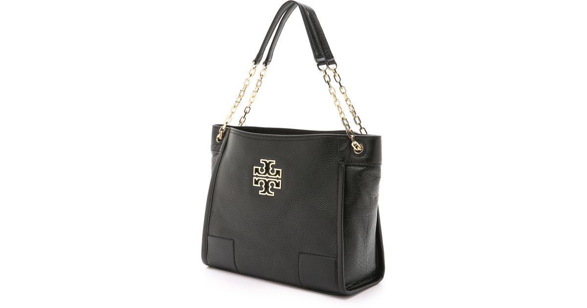 86ba6985bf6 Lyst - Tory Burch Britten Small Slouchy Tote - Black in Black