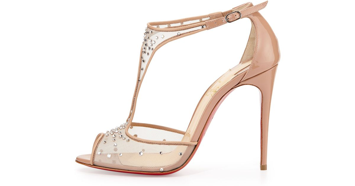 ec86b604d78c Lyst - Christian Louboutin Patinana Strass Red Sole Sandal in Natural