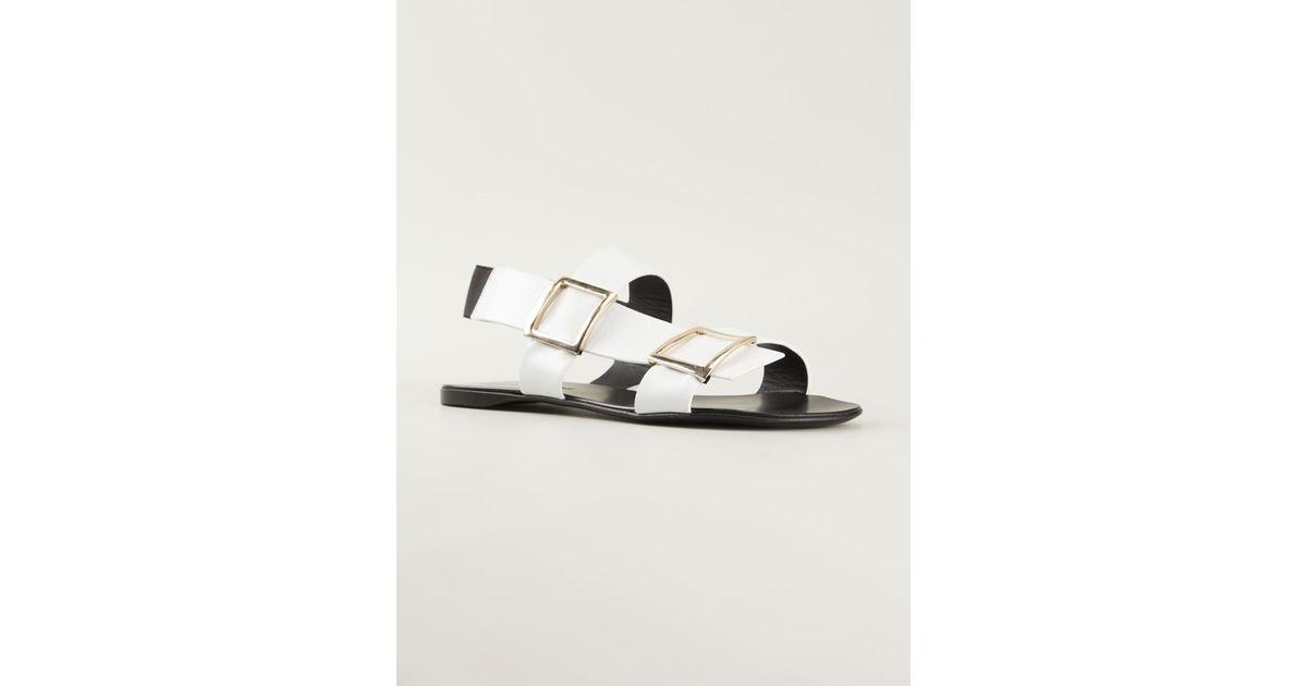 Gianmarco Lorenzi Flat Sandals Buckled White OkPTuXZi