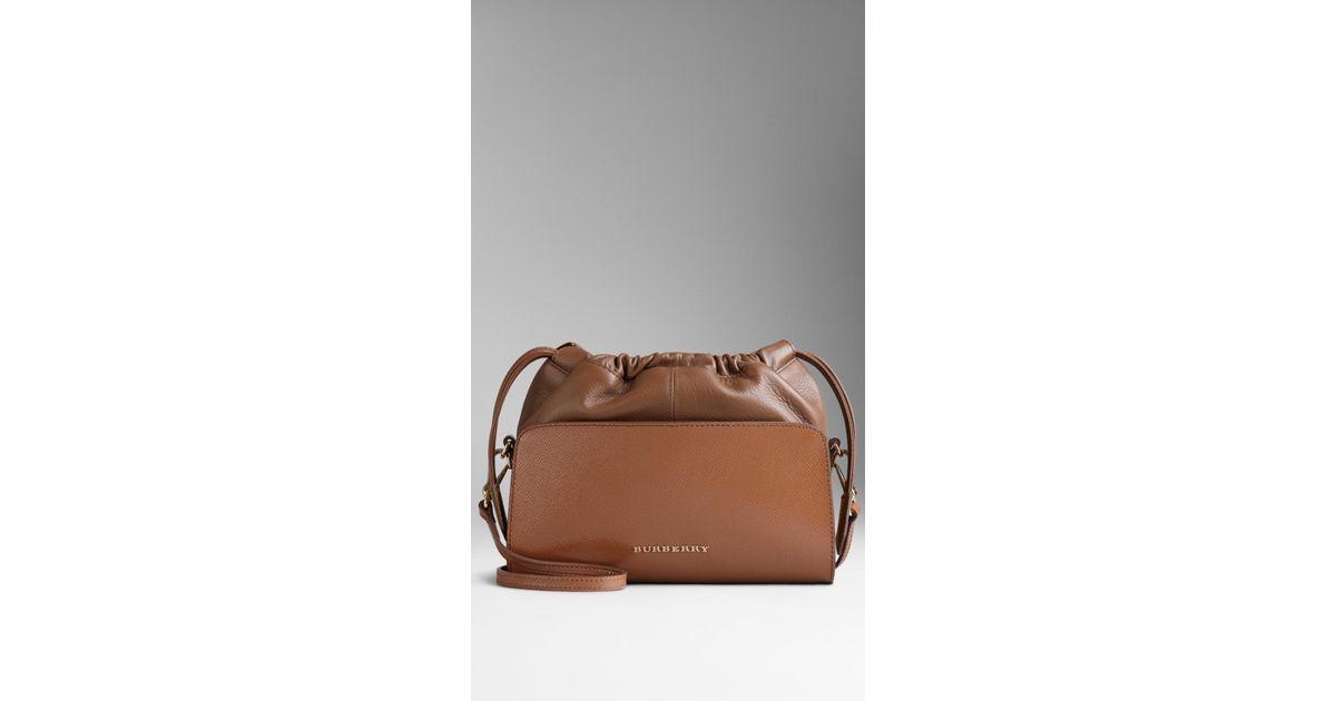995211b5d3c0 Burberry Mini Patent London Leather Crossbody Bag in Brown - Lyst
