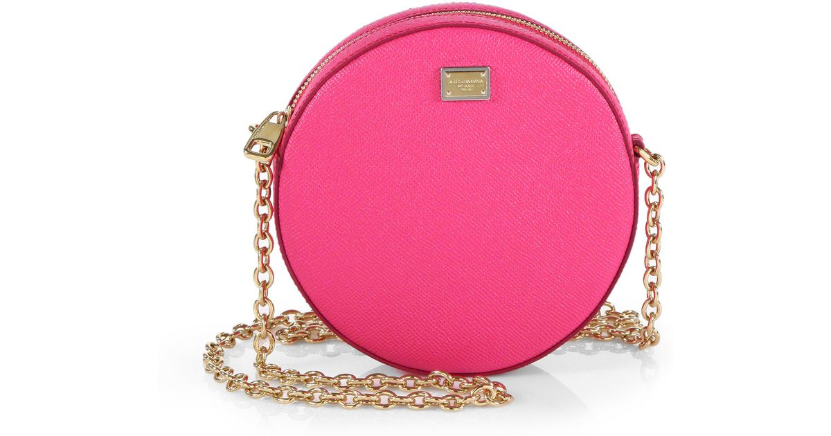 Lyst - Dolce   Gabbana Round Leather Shoulder Mini Bag in Pink