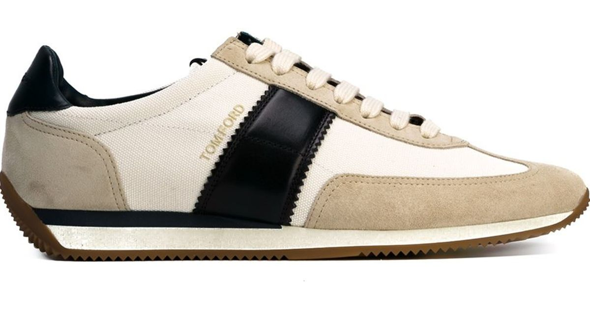 lyst - tom ford orford suede and leather sneakers in natural for men