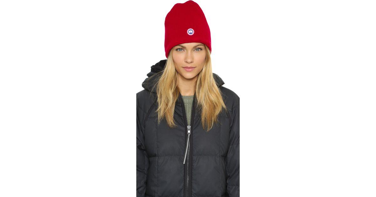 Lyst - Canada Goose Merino Wool Beanie - Black in Red 8293e08cff9