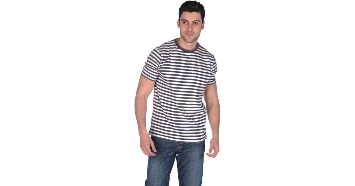 The fresh brand stripe tee in white for men navy lyst for Fresh brand t shirts