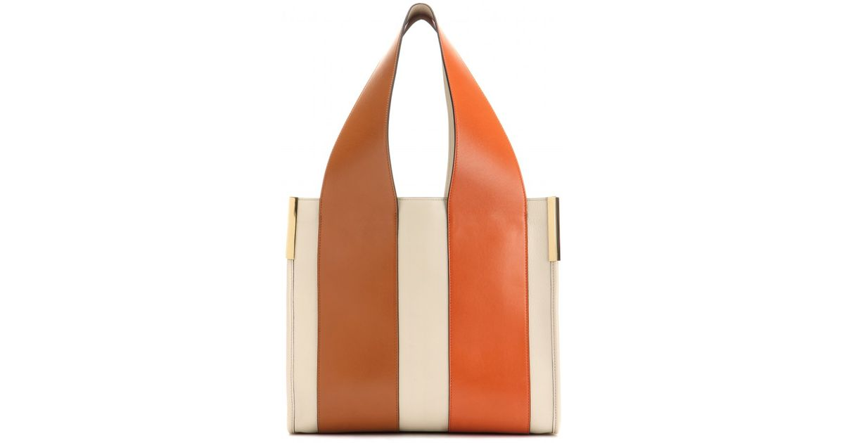 Chloé Beach Bag Leather Shopper in White | Lyst
