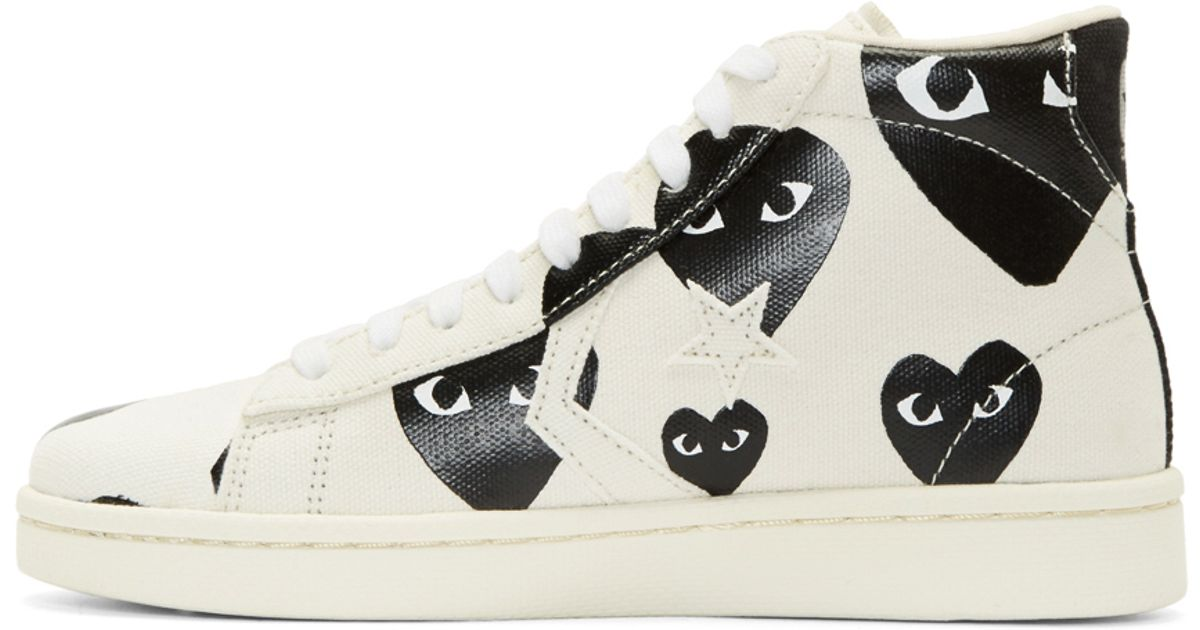 Lyst - Play Comme des Garçons White Heart Print Converse Edition High top  Sneakers in White for Men aeac64003