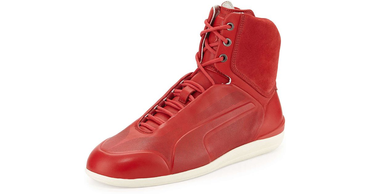 Lyst Puma Ferrari Suede High Top Sneaker In Red For Men