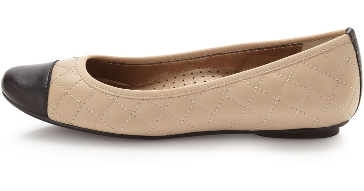 1d50a312cfcd Lyst Neiman Marcus Saucy Quilted Leather Ballerina Flat In Natural