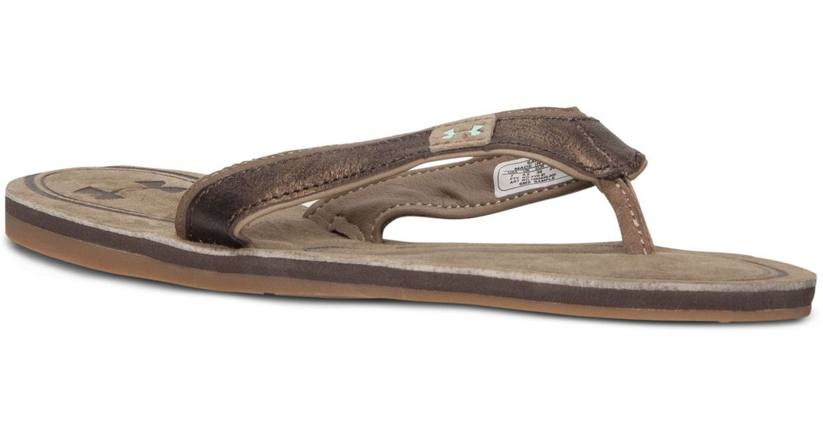 97d6536e51b8 Lyst - Under Armour Women s Tropicflow Leather Thong Sandals in Brown
