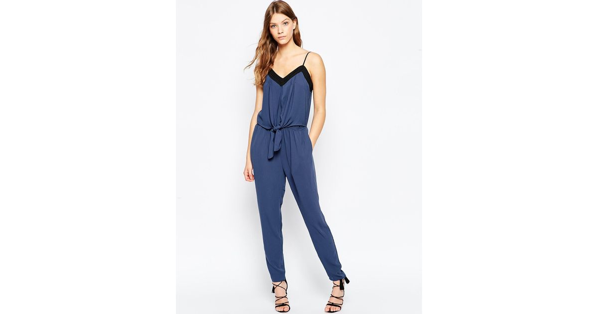 a70377c713ec Lyst - Greylin Tie Front Silky Poly Jumpsuit in Blue