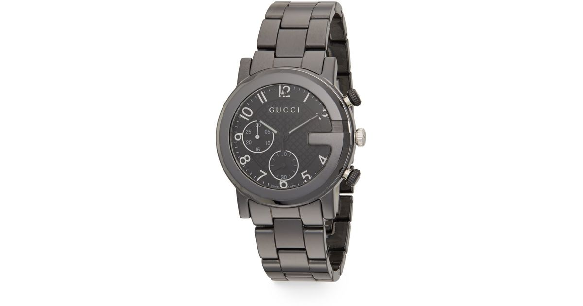 bd473d799 Lyst Gucci G Chrono Gunmetal Tone Ceramic Bracelet Watch In Gray