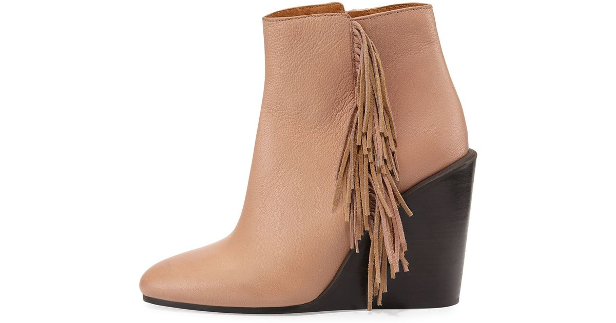 c41e9fd8c93 Lyst - See By Chloé Epona Fringed Boots in Natural
