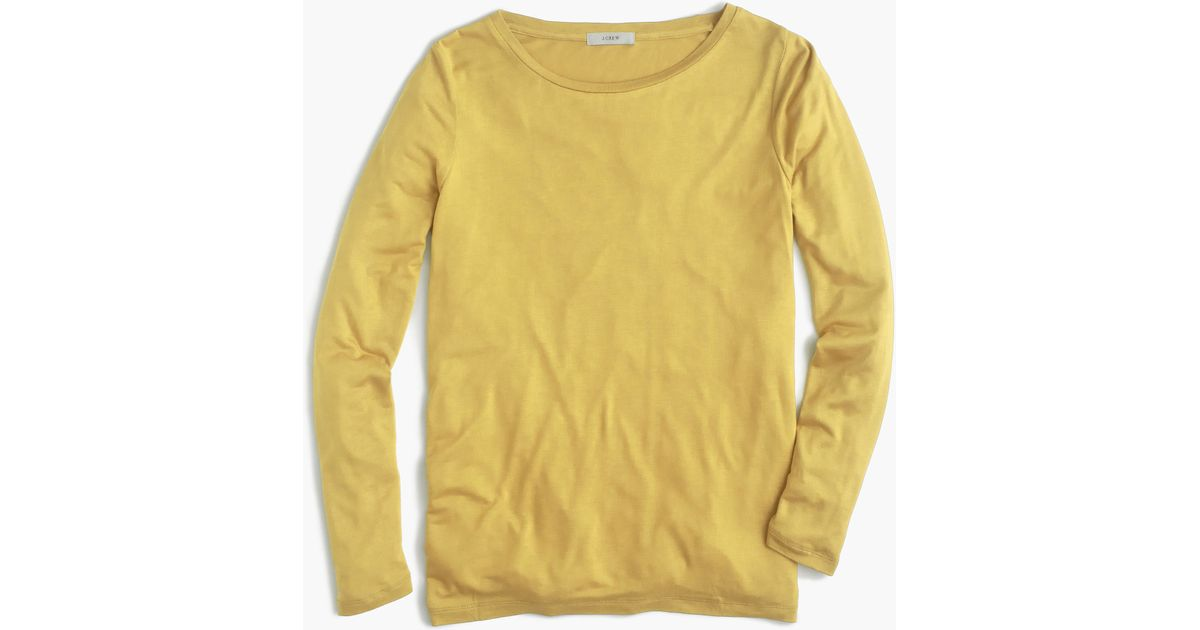 Drapey Long Sleeve T Shirt In Yellow Lyst