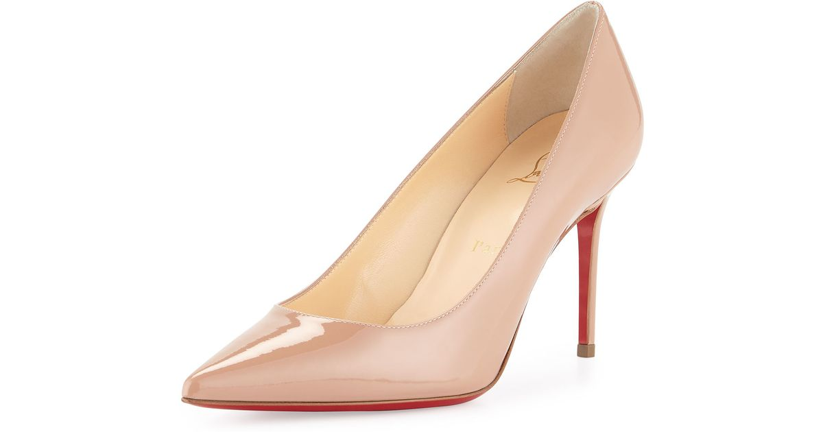 fd90df5834f7 Lyst - Christian Louboutin Decollete Patent-Leather Pumps in Natural