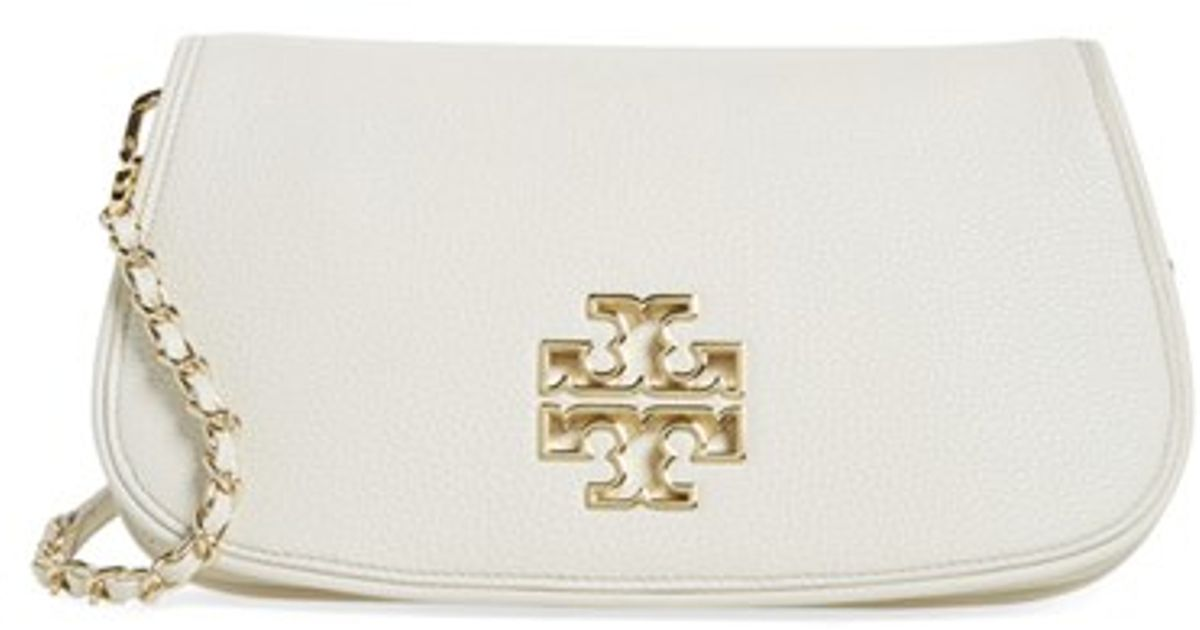 876162318ec Lyst - Tory Burch  britten  Leather Clutch in White