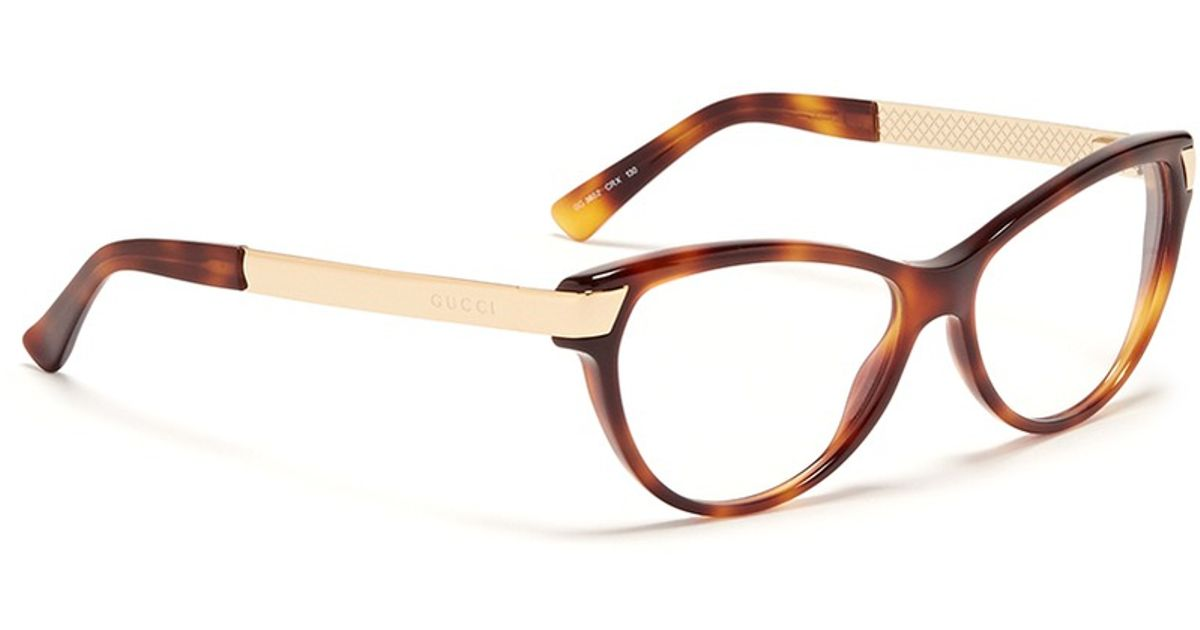 a2d1029e75b Lyst - Gucci Metal Arm Tortoiseshell Frame Optical Glasses in Brown