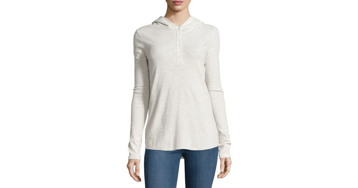 James Perse Thermal Hooded Henley In Natural Lyst