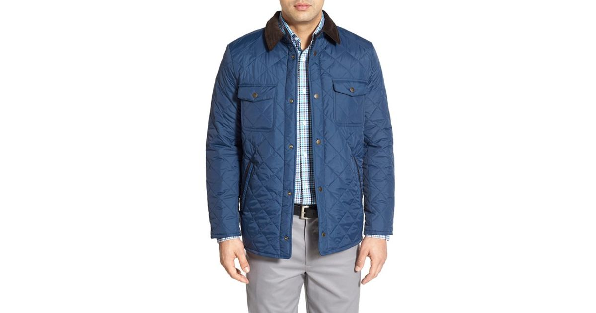 dd367b320d Lyst - Nordstrom Regular Fit Quilted Nylon Shirt Jacket in Blue for Men