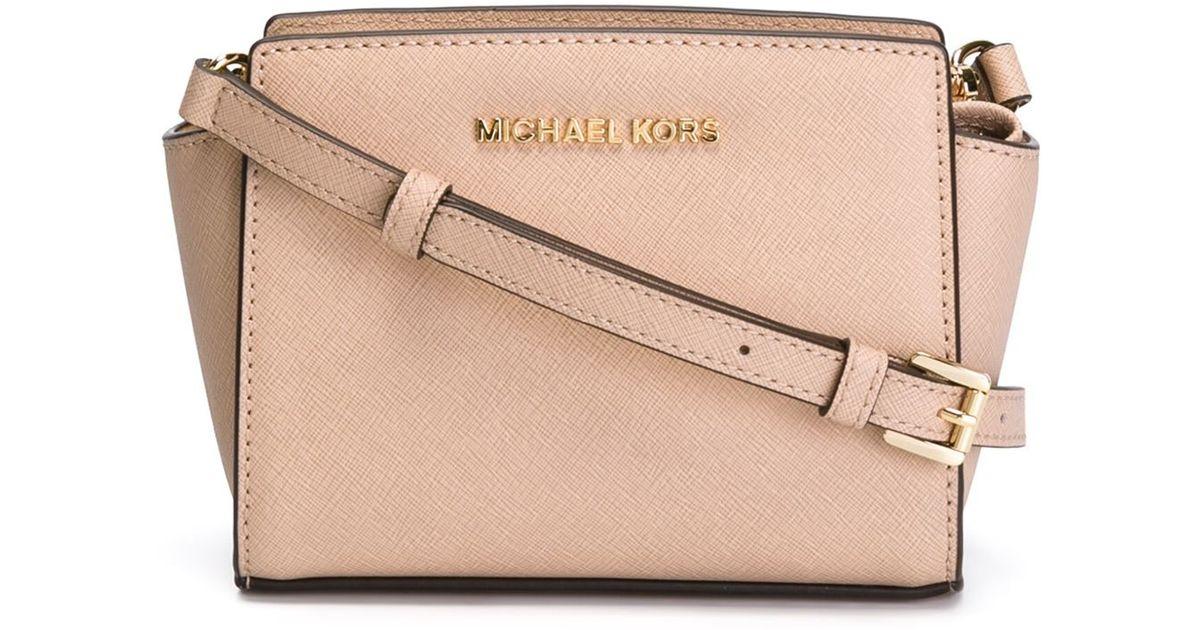 131cbad79229 MICHAEL Michael Kors Mini Selma Leather Cross-Body Bag in Natural - Lyst