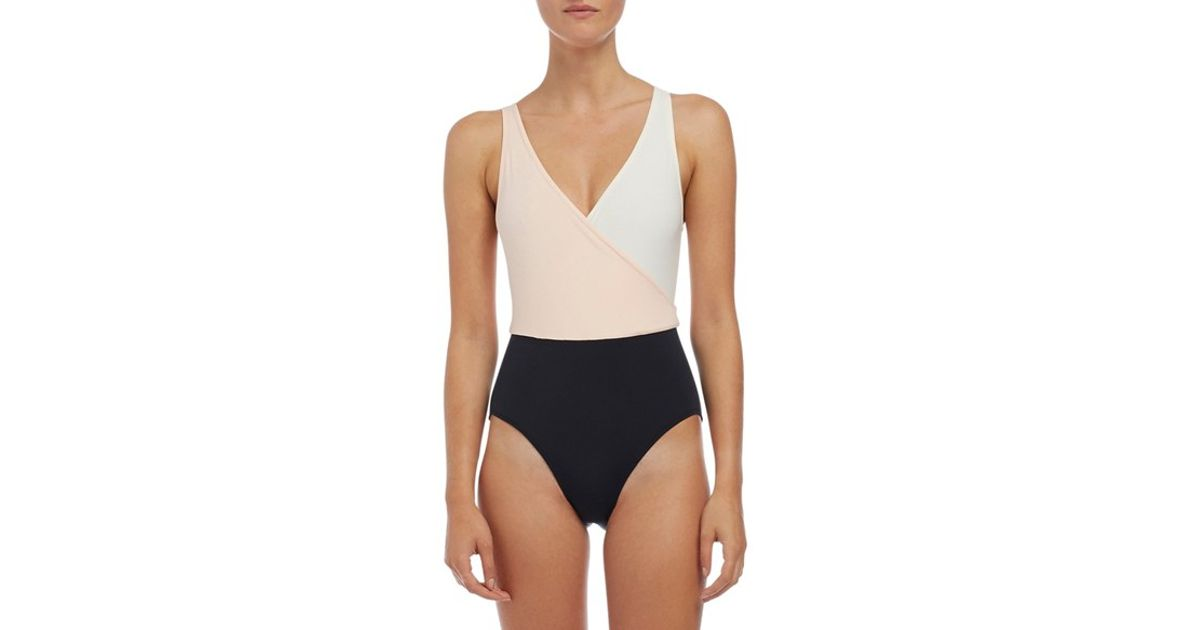 66d62e8b4479e Lyst - Solid   Striped  the Ballerina  Colorblock One-piece Swimsuit in Pink