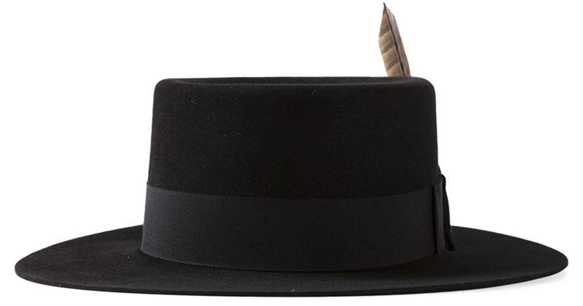 Lyst - Saint Laurent Feathered Fedora in Black for Men 7b0bda6f718