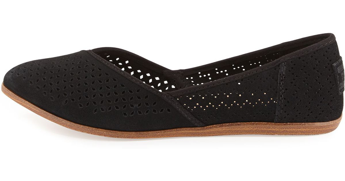 c5ea5afdf TOMS Jutti Perforated Suede Flat in Black - Lyst