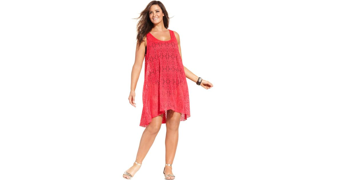 Gottex Pink Plus Size Lace High-Low Dress Cover Up