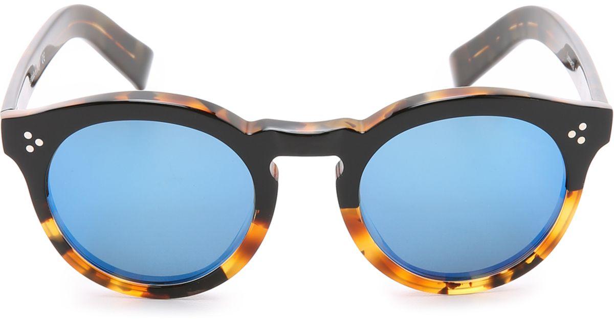 cb7ff4ff309 Illesteva Leonard Ii Half And Half Mirrored Sunglasses - Black Light  Tortoise blue in Black - Lyst