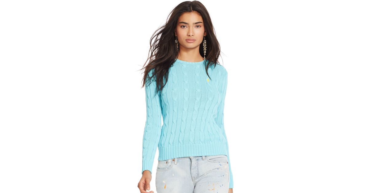 Polo ralph lauren Cable-knit Crewneck Sweater in Blue | Lyst