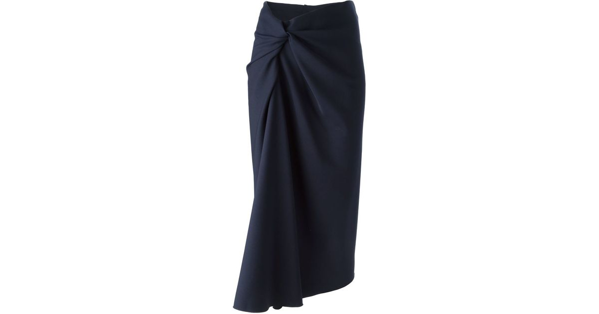 lanvin draped pencil skirt in black lyst