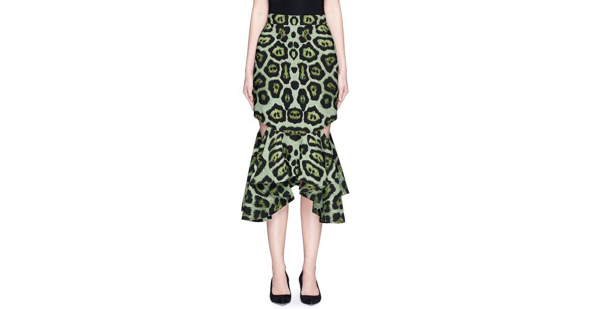 Givenchy Jaguar Print Cutout Waterfall Hem Skirt in Green ...
