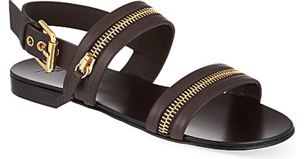 d5834cf245bc85 Giuseppe Zanotti Zip Strap Sandals in Brown for Men - Lyst