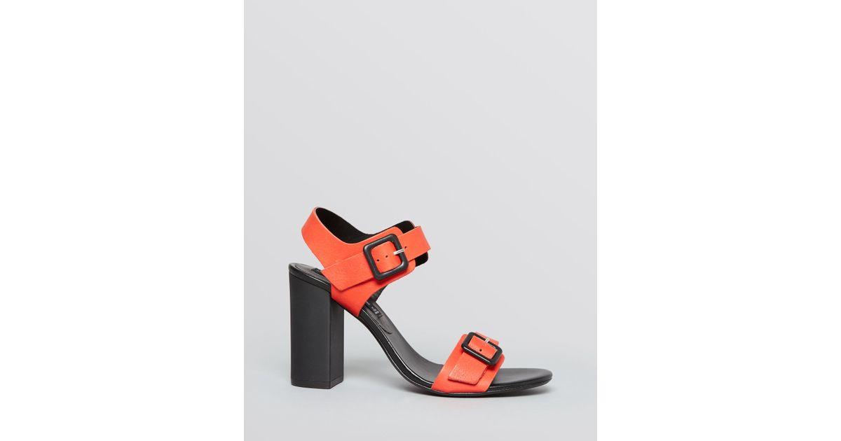 7d1e7035361 Lyst - Steven by Steve Madden Open Toe Sandals - Sagharbr Block Heel in Red
