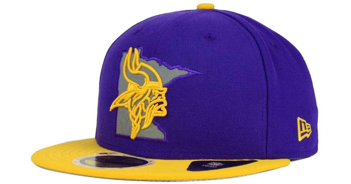 best sneakers 07dcd 52e8c KTZ Minnesota Vikings State Flective Redux 59fifty Cap in Purple for Men -  Lyst