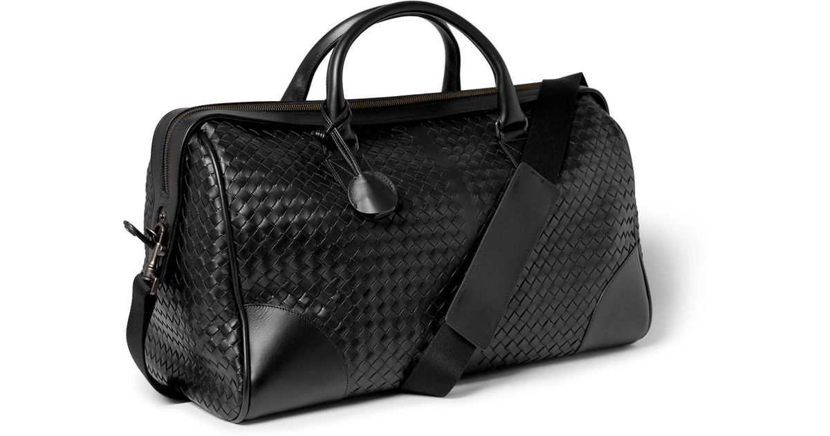 Bottega Veneta Intrecciato Leather Holdall Bag in Black for Men - Lyst 8024f9dc2df56