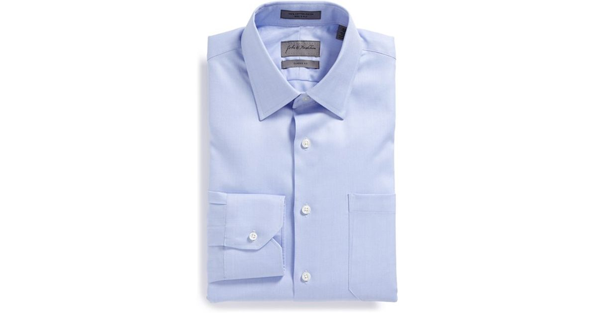 John w nordstrom classic fit herringbone dress shirt in for Tall mens dress shirts