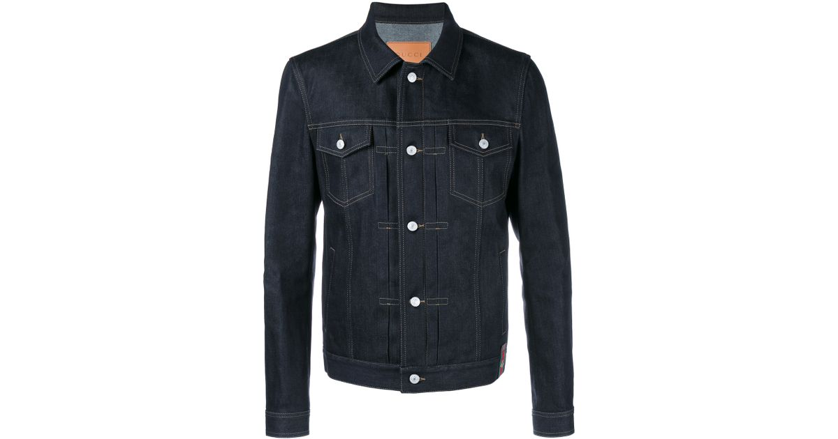 e83873a366 Lyst - Gucci Raw Japanese Denim Jacket in Blue for Men