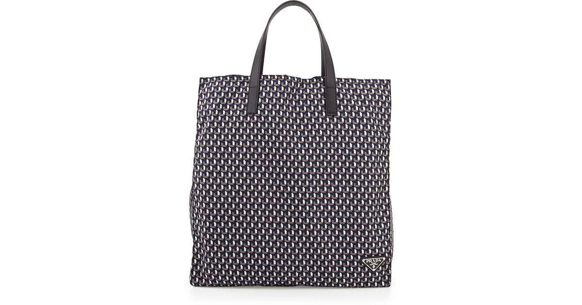 Lyst - Prada Men S Octagon-Print Nylon Tote Bag in Black for Men 7bed64d6a8814