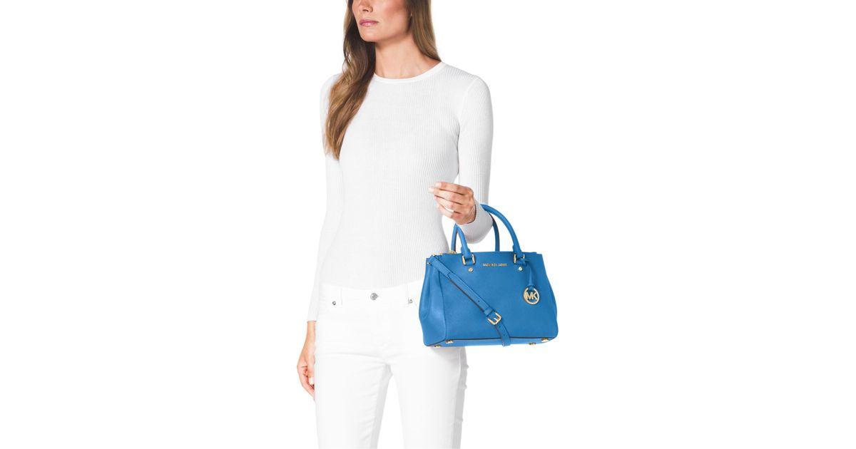 1df9ac9f6040 Michael Kors Sutton Small Saffiano Leather Satchel in Blue - Lyst