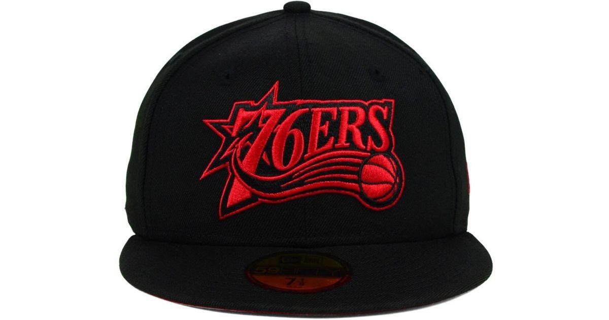 on sale 98741 da5e8 Lyst - KTZ Philadelphia 76ers Hwc Black On Color 59fifty Cap in Black for  Men