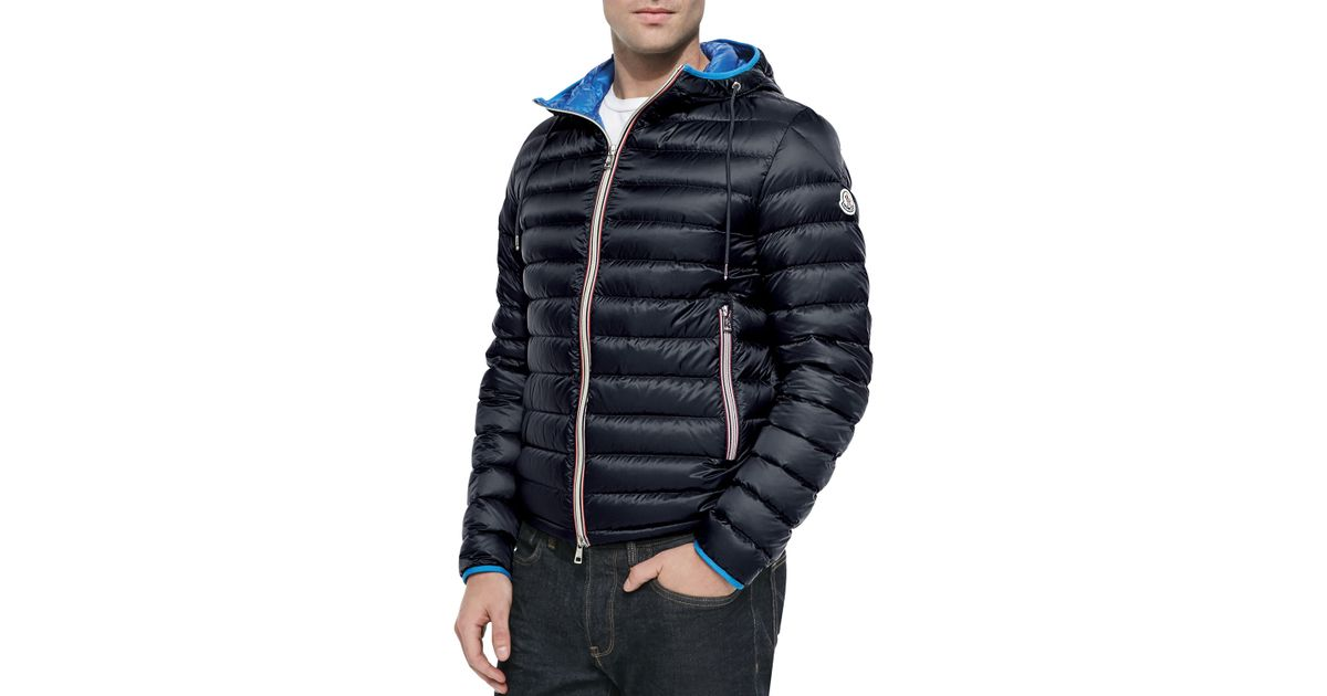 lyst moncler athenes hooded puffer jacket in blue for men rh lyst com
