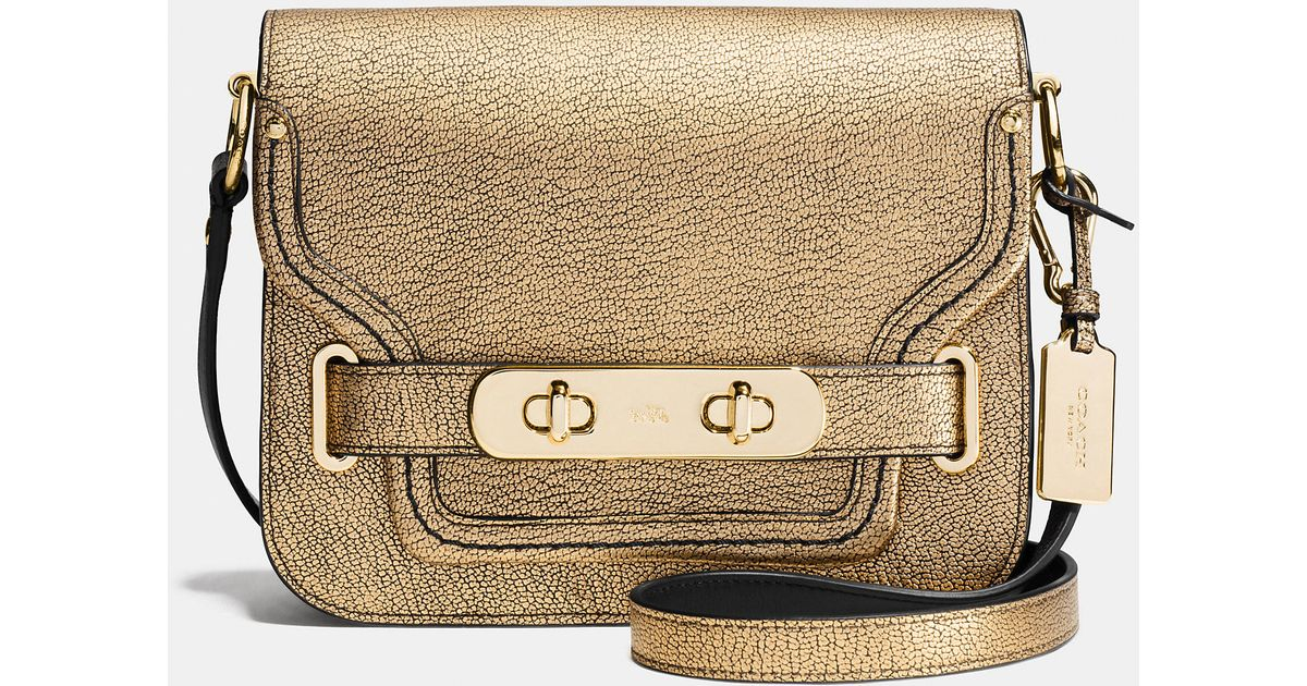 e43d2891adacd ... where can i buy lyst coach swagger small shoulder bag in metallic  pebble leather in metallic