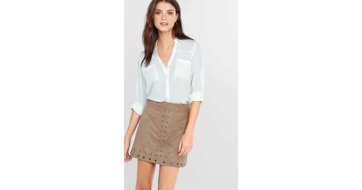 express high waisted grommet embellished a line skirt
