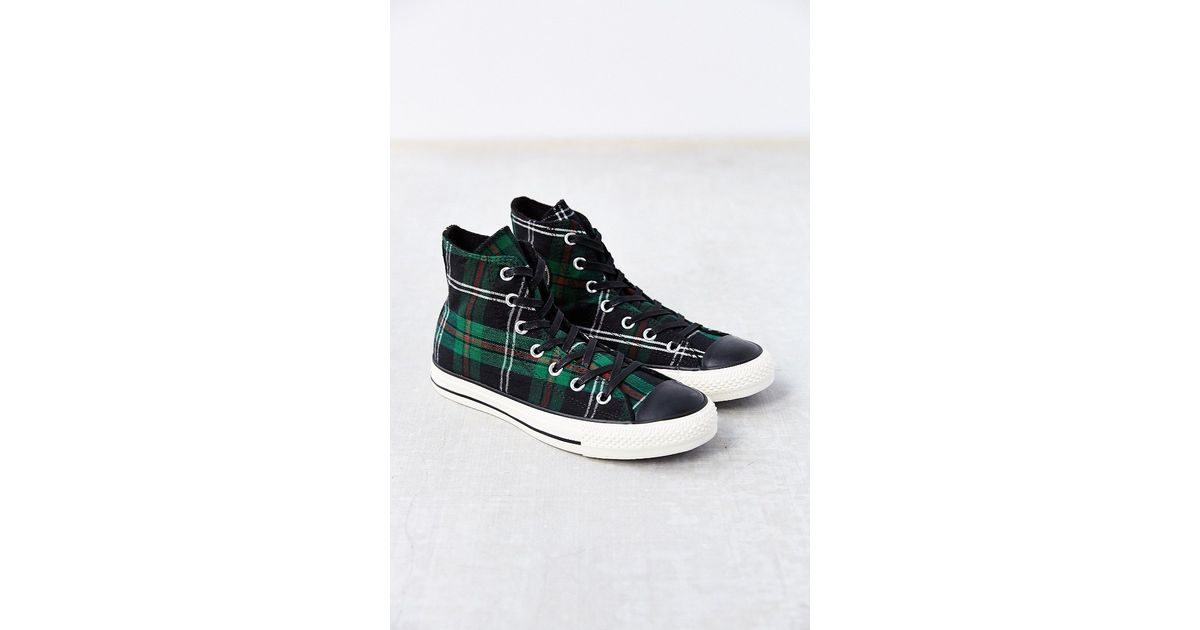 5d321f485f0 Lyst - Converse Chuck Taylor All Star Green Tartan High-Top Women S Sneaker  in Green