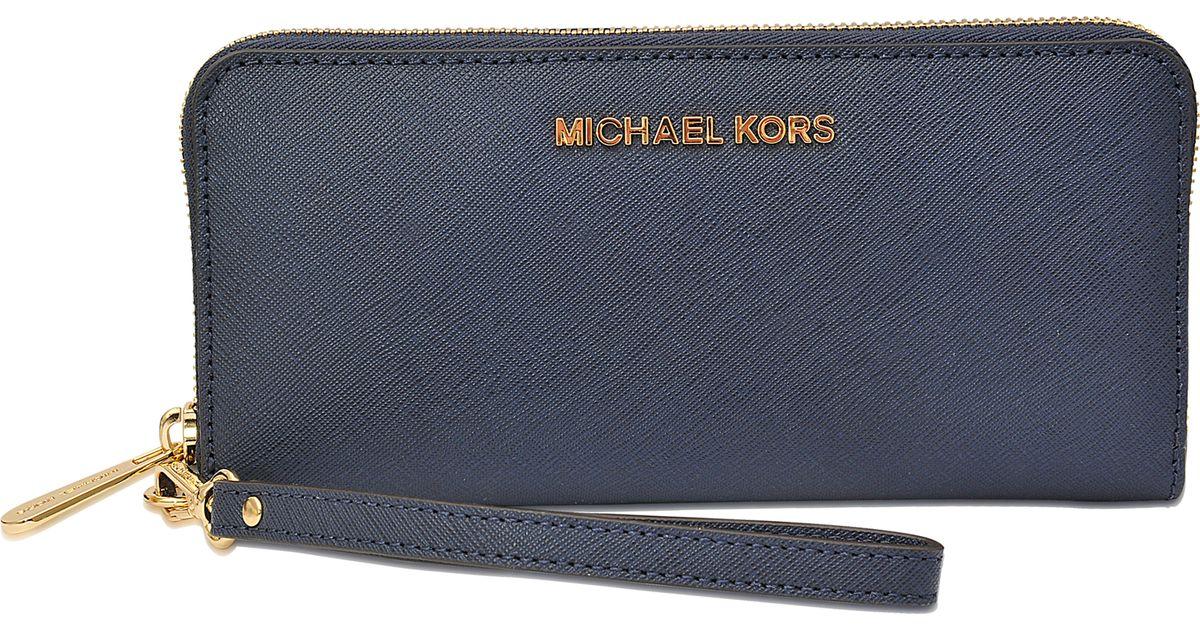 cc8eedc0b91a MICHAEL Michael Kors Jet Set Travel Tech Continental Wallet in Blue - Lyst