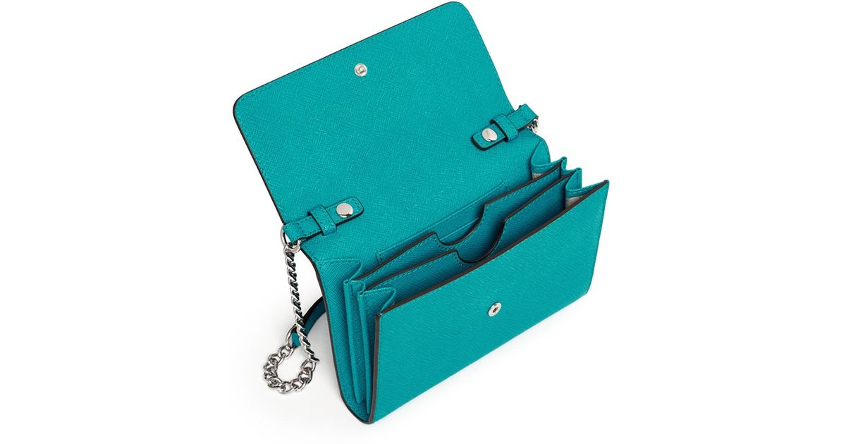 74c9af8a1fe66a Michael Kors 'jet Set Travel' Saffiano Leather Phone Crossbody Bag in Blue  - Lyst