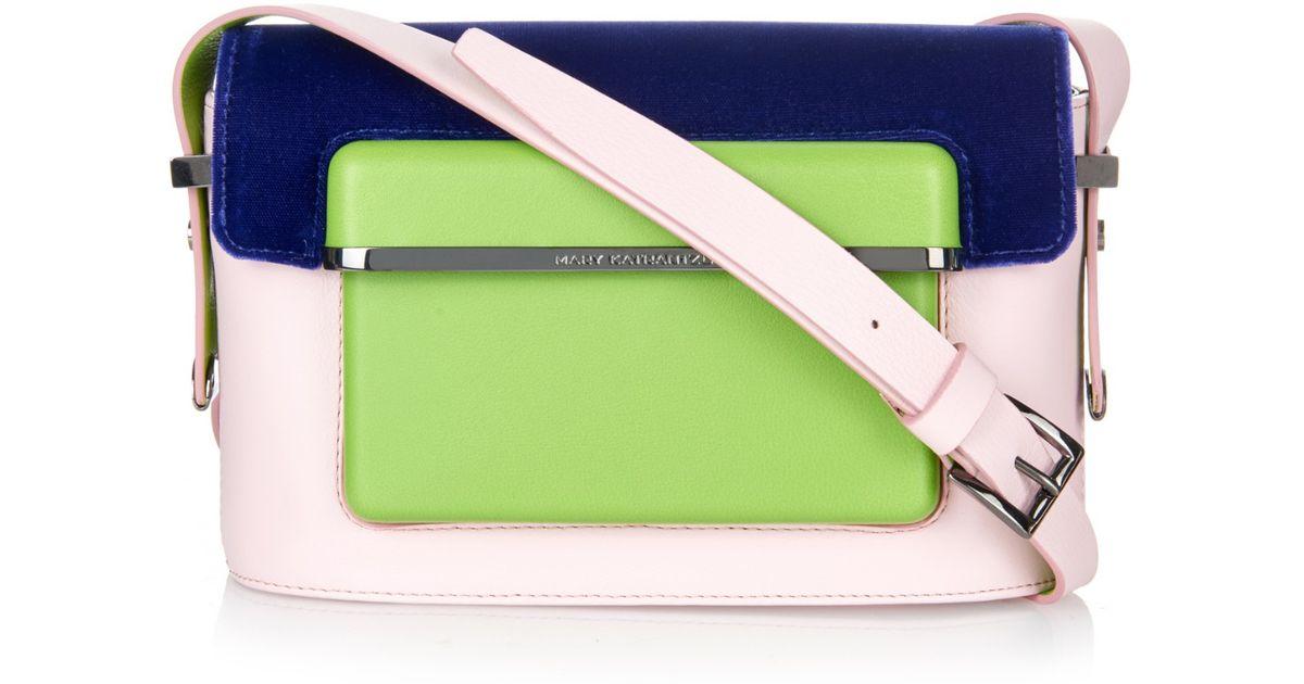 584b9196b48 Mary Katrantzou Mvk Small Leather And Velvet Cross-body Bag in Pink - Lyst